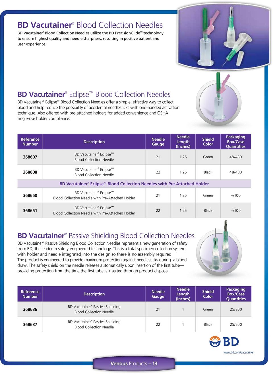 BD Vacutainer Eclipse Blood Collection Needles BD Vacutainer Eclipse Blood Collection Needles offer a simple, effective way to collect blood and help reduce the possibility of accidental needlesticks