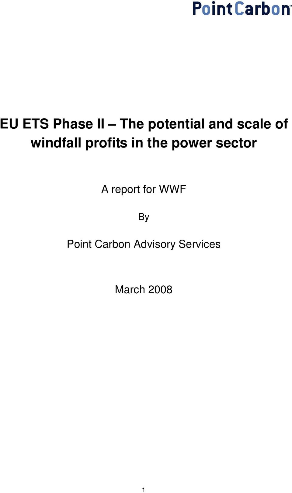 power sector A report for WWF By