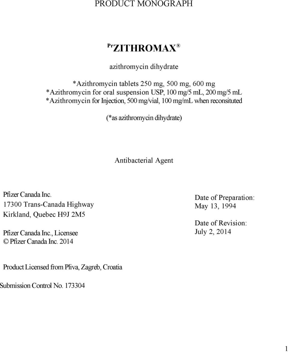 Page Zithromax Product Monograph Azithromycin Dihydrate Pdf