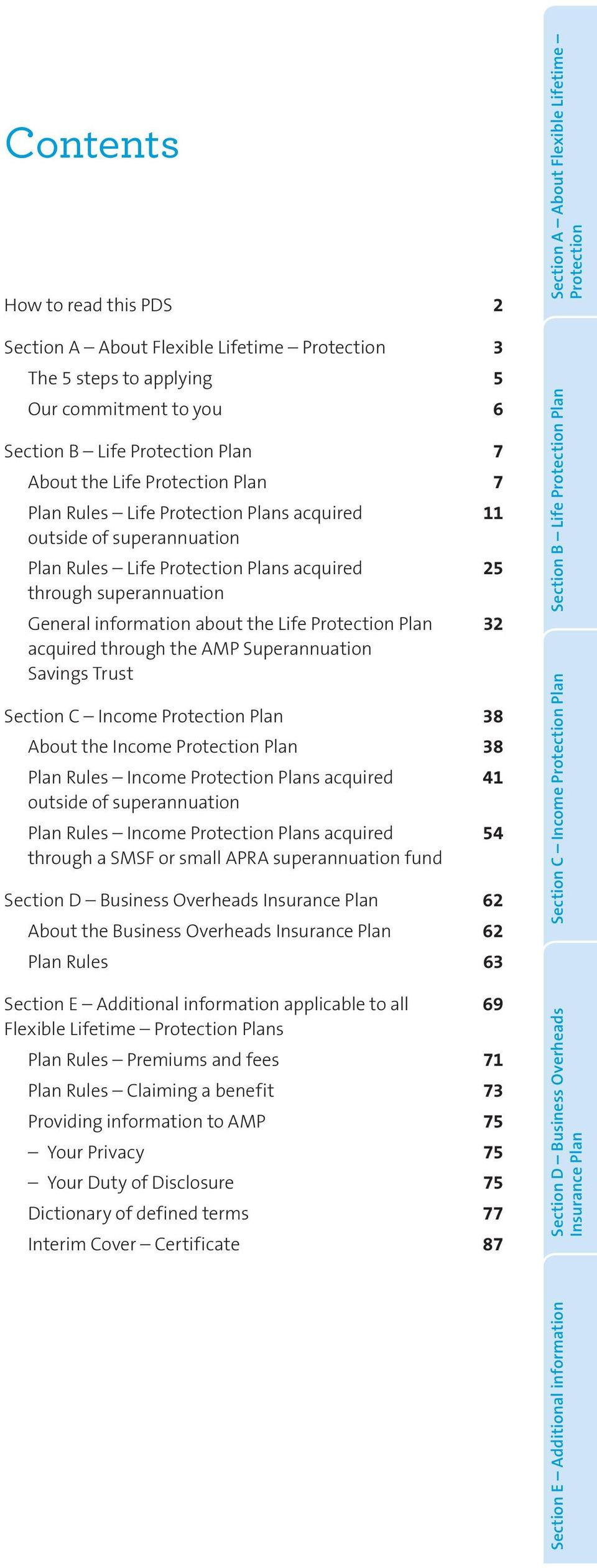 through the AMP Superannuation Savings Trust Section C Income Protection Plan 38 About the Income Protection Plan 38 Plan Rules Income Protection Plans acquired 41 outside of superannuation Plan