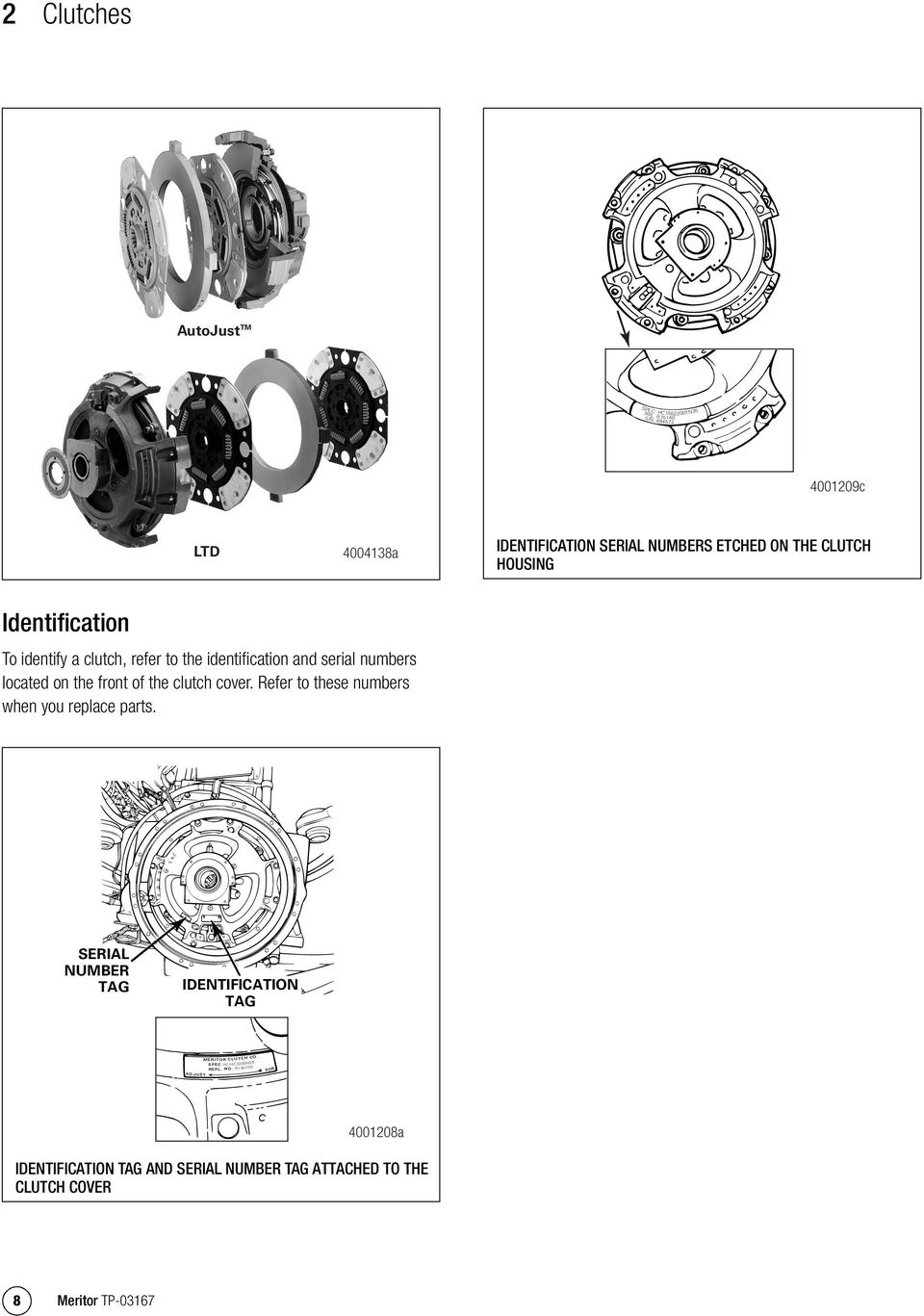 identify a clutch, refer to the identification and serial numbers located on the front of the clutch cover.