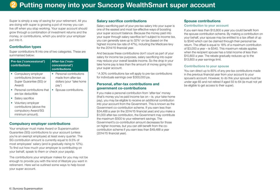 Your super account should grow through a combination of investment returns and the money, or contributions, which you and/or your employer put into it.