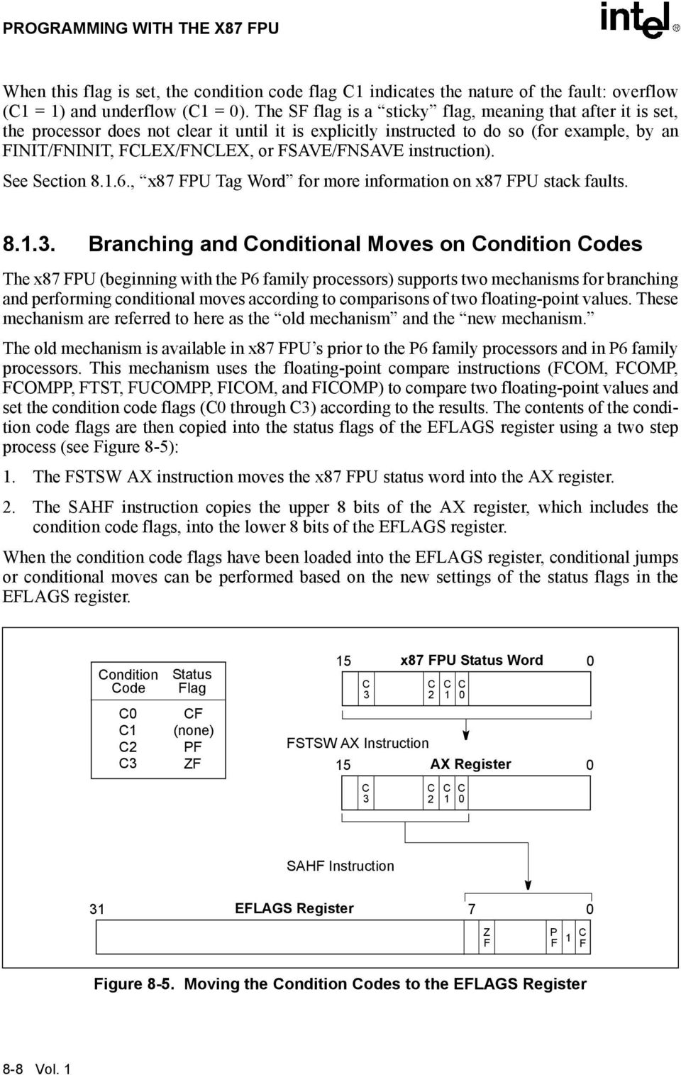 FPU stack faults 813 Branching and Conditional Moves on Condition Codes The x87 FPU (beginning with the P6 family processors) supports two mechanisms for branching and performing conditional moves