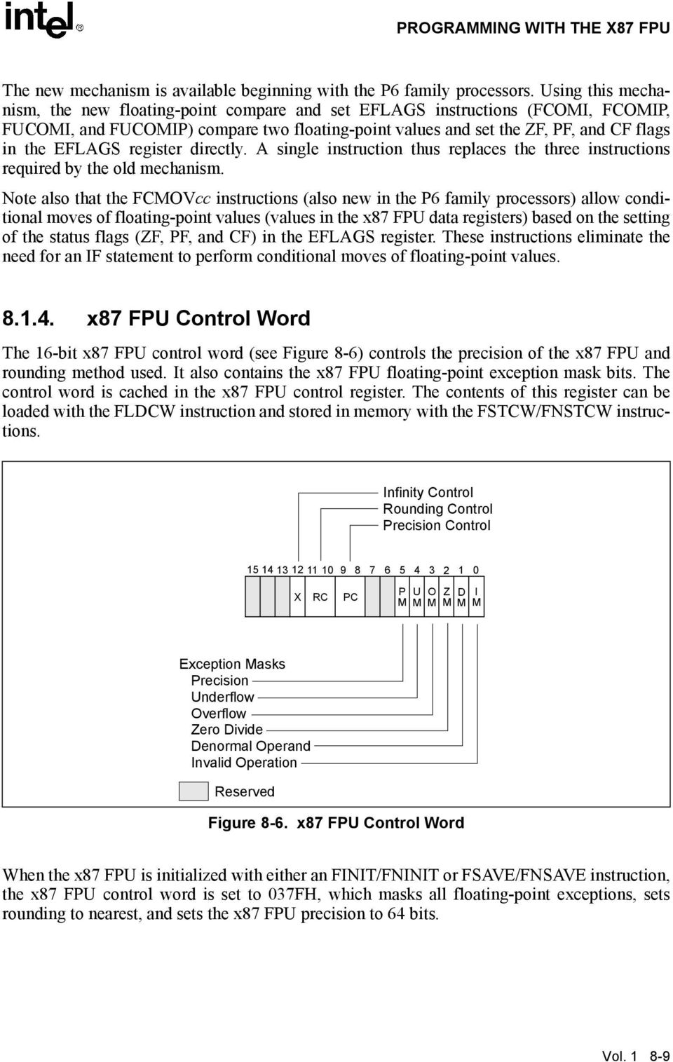 FCMOVcc instructions (also new in the P6 family processors) allow conditional moves of floating-point values (values in the x87 FPU data registers) based on the setting of the status flags (ZF, PF,