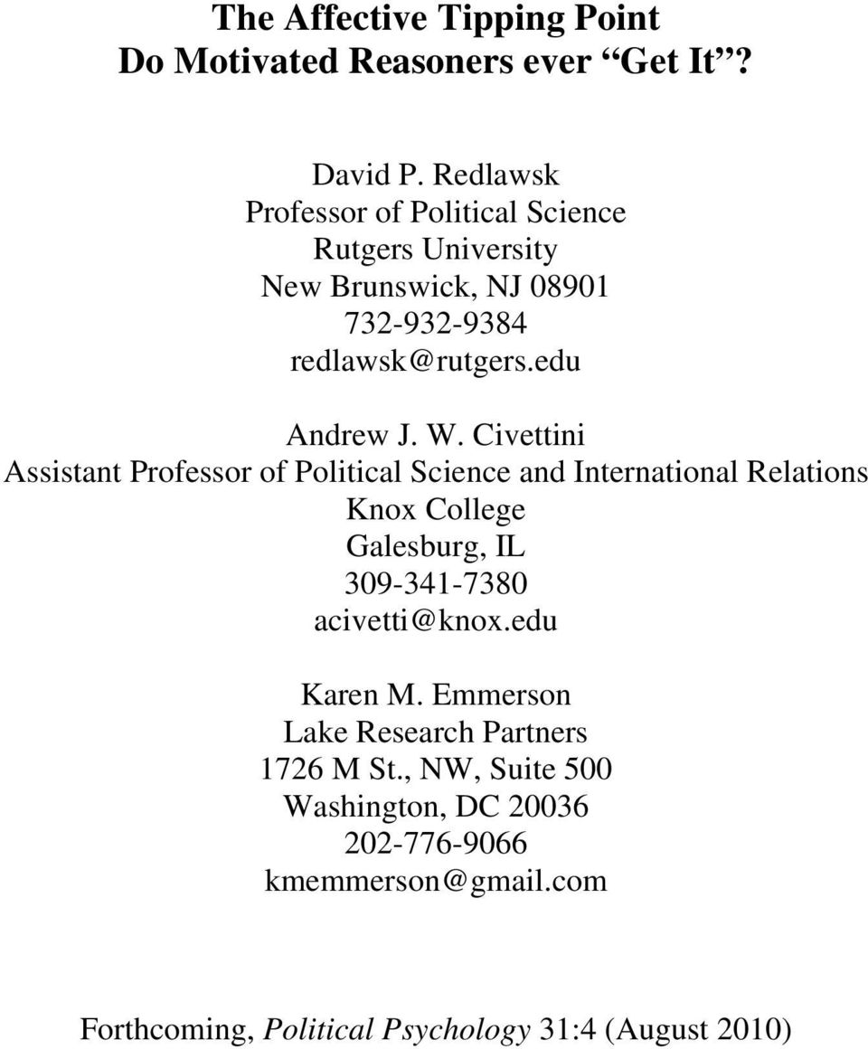 Civettini Assistant Professor of Political Science and International Relations Knox College Galesburg, IL 309-341-7380