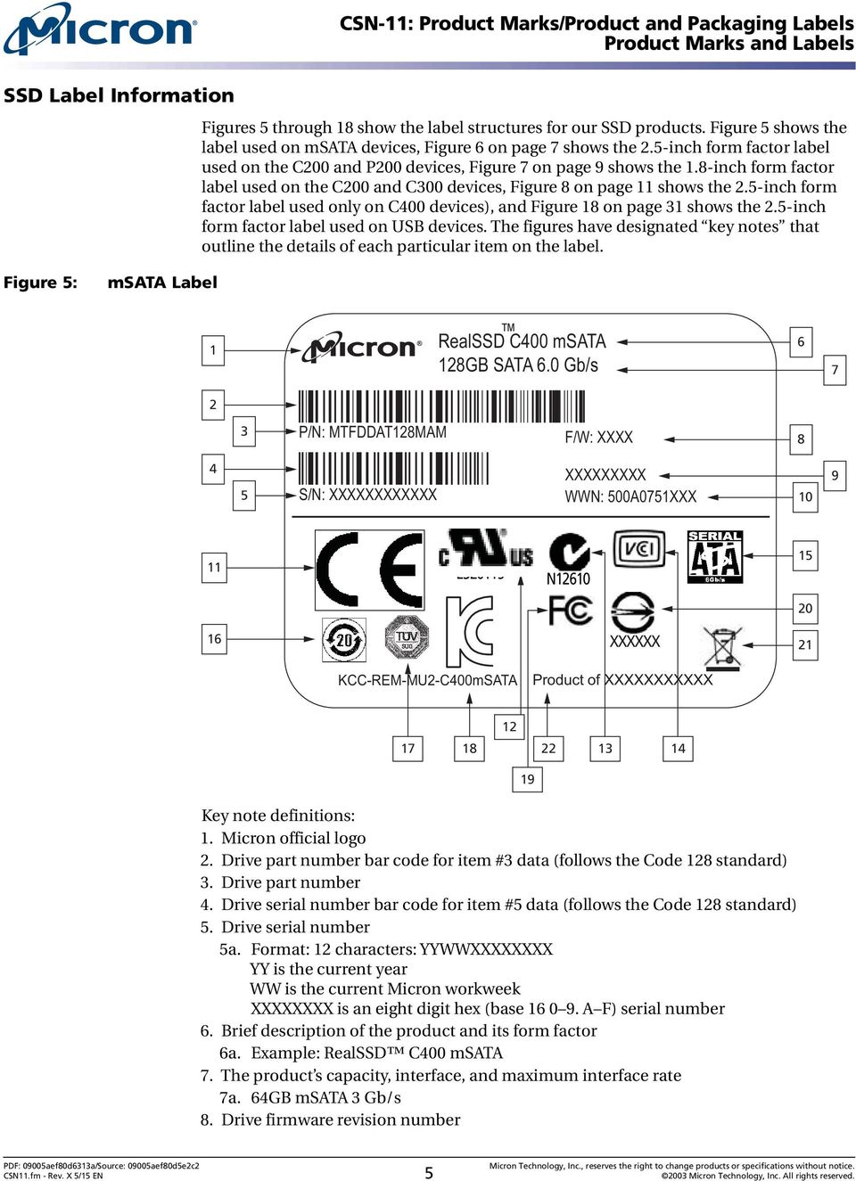 8-inch form factor label used on the C200 and C300 devices, Figure 8 on page 11 shows the 2.5-inch form factor label used only on C400 devices), and Figure 18 on page 31 shows the 2.