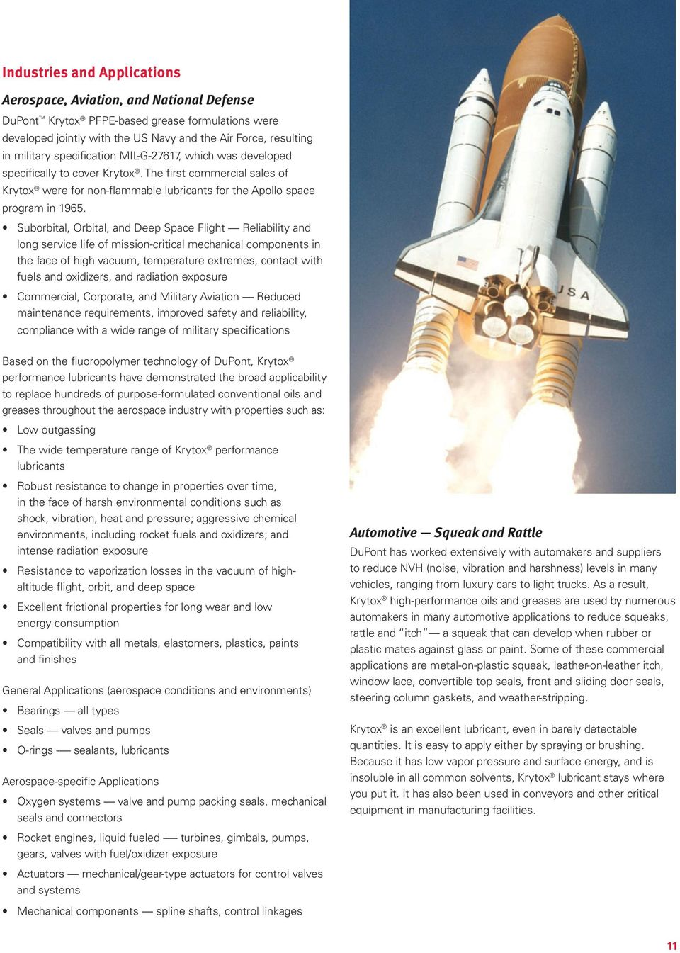 Suborbital, Orbital, and Deep Space Flight Reliability and long service life of mission-critical mechanical components in the face of high vacuum, temperature extremes, contact with fuels and