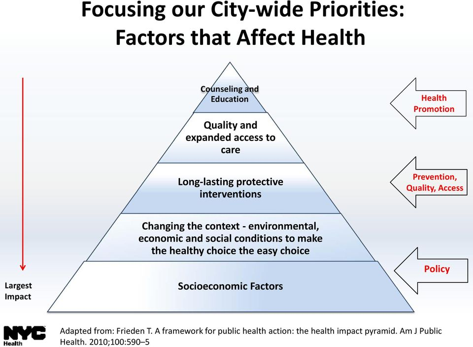 context - environmental, economic and social conditions to make the healthy choice the easy choice Socioeconomic Factors