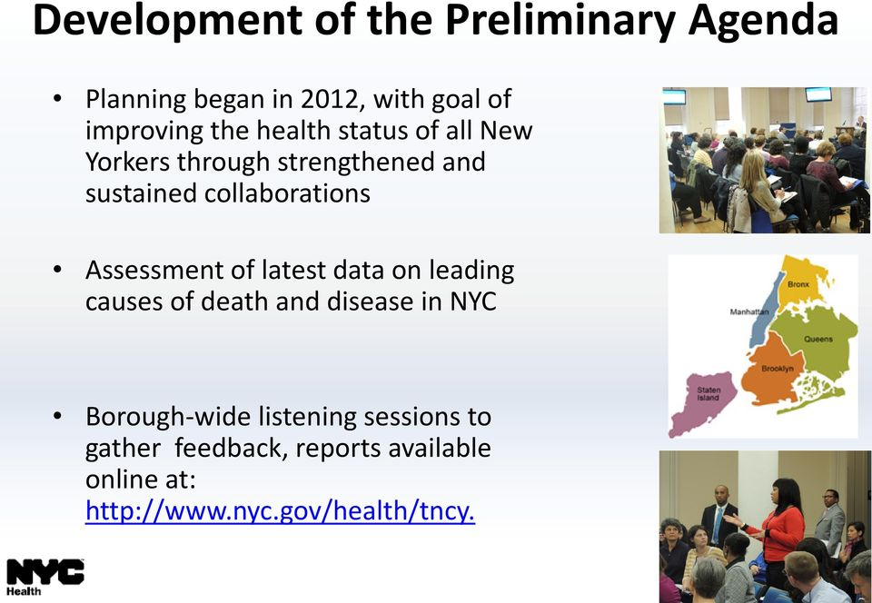 Assessment of latest data on leading causes of death and disease in NYC Borough-wide