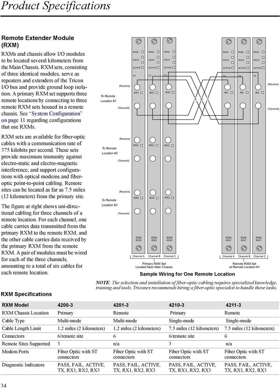 A primary RXM set supports three remote locations by connecting to three remote RXM sets housed in a remote chassis. See System Configuration on page 11 regarding configurations that use RXMs.