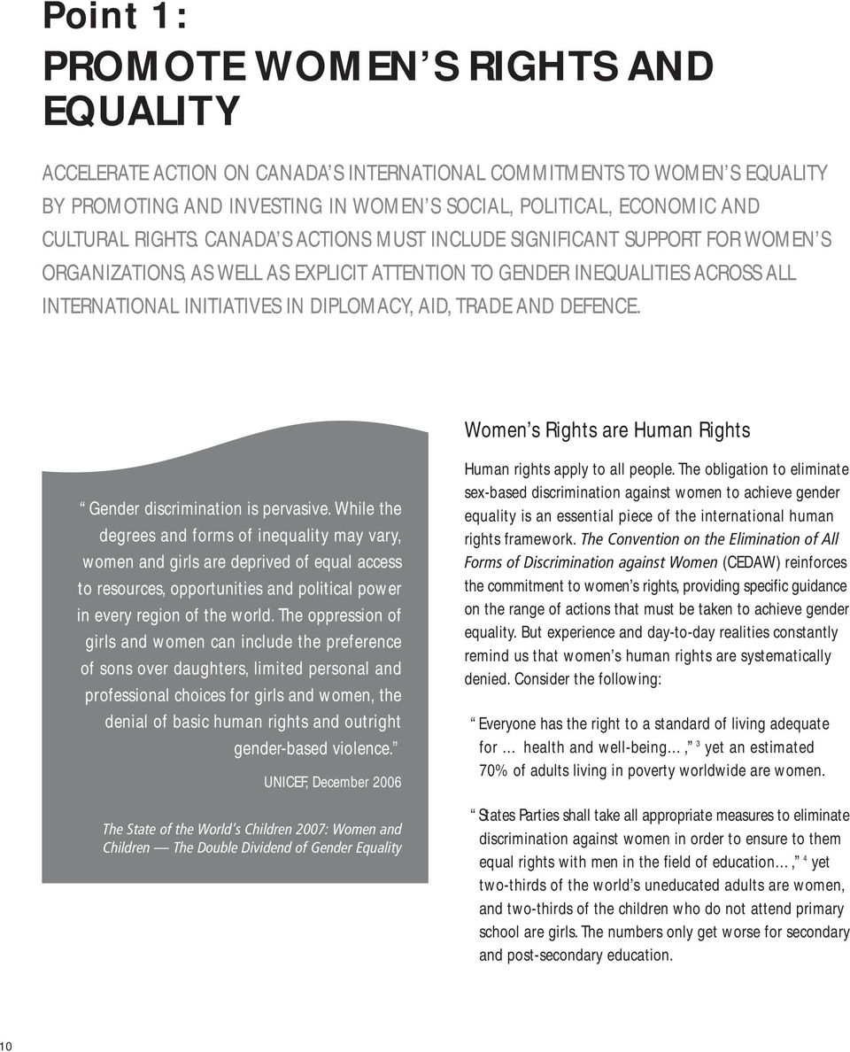 CANADA S ACTIONS MUST INCLUDE SIGNIFICANT SUPPORT FOR WOMEN S ORGANIZATIONS, AS WELL AS EXPLICIT ATTENTION TO GENDER INEQUALITIES ACROSS ALL INTERNATIONAL INITIATIVES IN DIPLOMACY, AID, TRADE AND