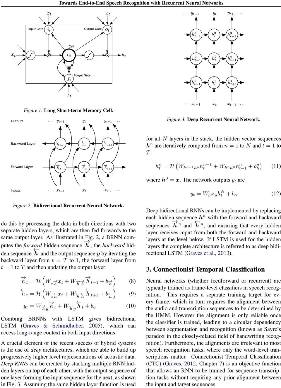 The network outputs y t are (11) y t = W hn yh N t + b o (12) Figure 2. Bidirectional Recurrent Neural Network.