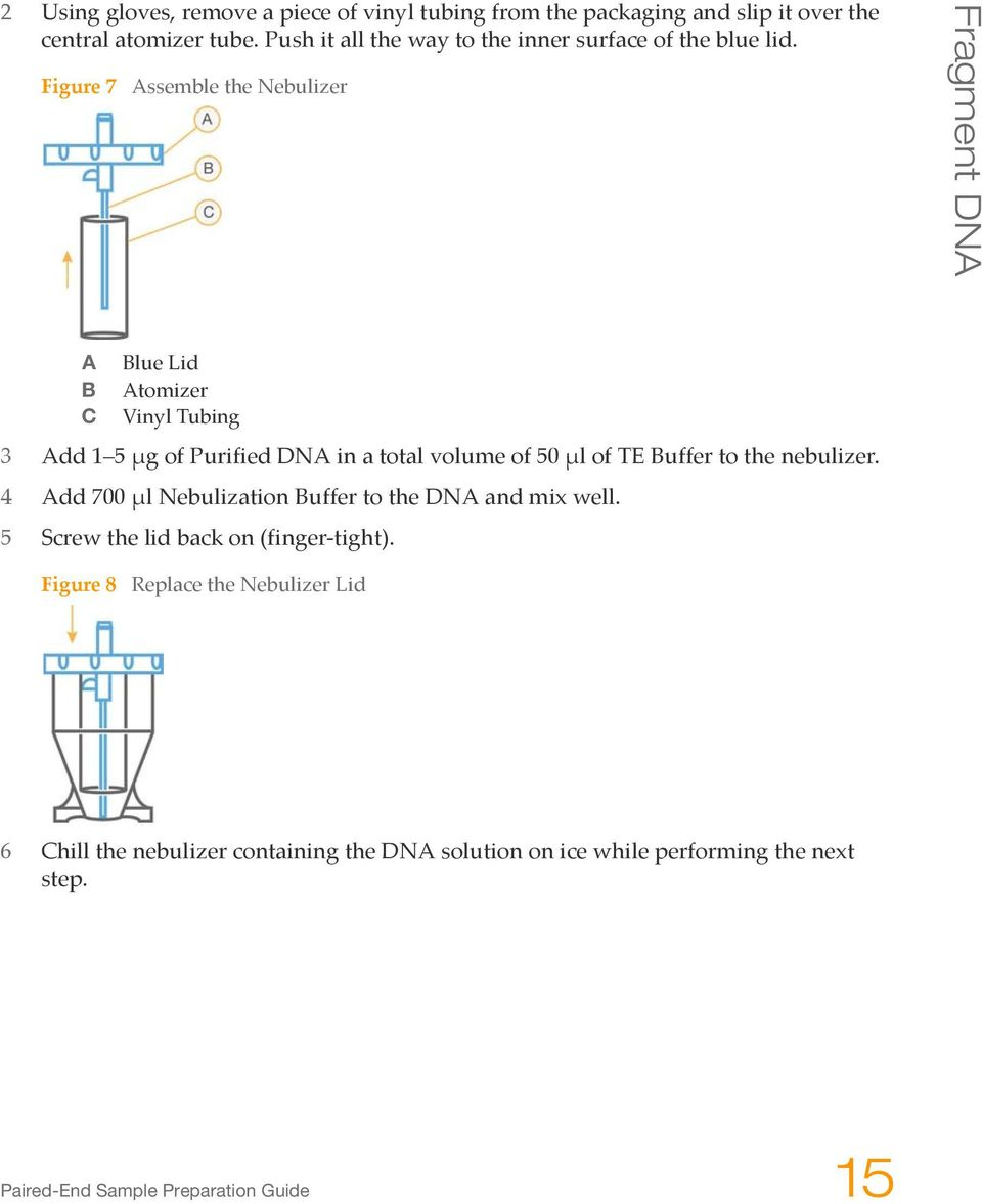 Figure 7 Assemble the Nebulizer Fragment DNA A Blue Lid B Atomizer C Vinyl Tubing 3 Add 1 5 μg of Purified DNA in a total volume of 50 μl of TE