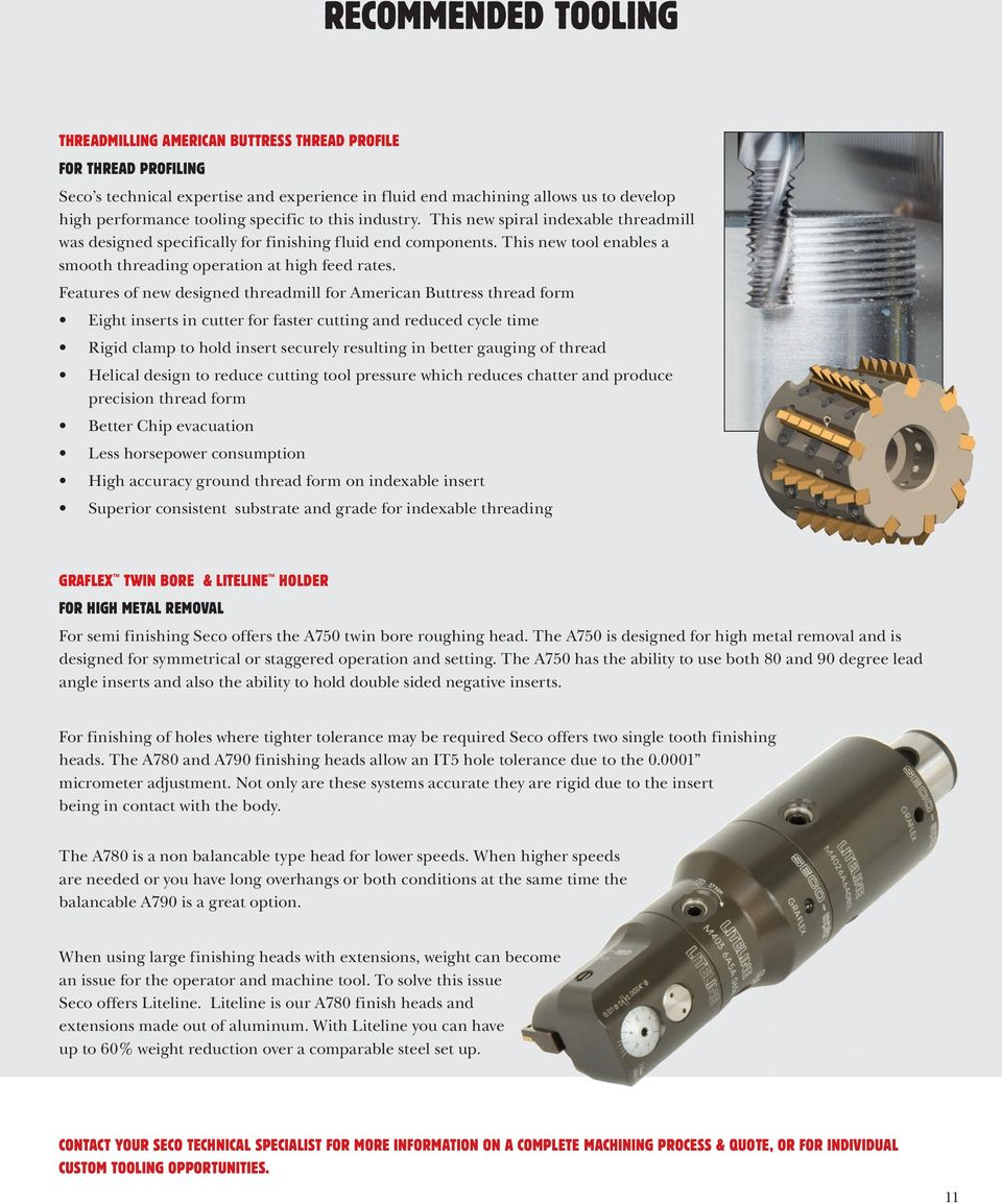 Features of new designed threadmill for American Buttress thread form Eight inserts in cutter for faster cutting and reduced cycle time Rigid clamp to hold insert securely resulting in better gauging