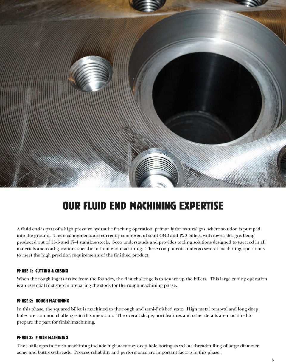 Seco understands and provides tooling solutions designed to succeed in all materials and configurations specific to fluid end machining.