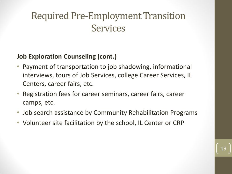 Career Services, IL Centers, career fairs, etc.