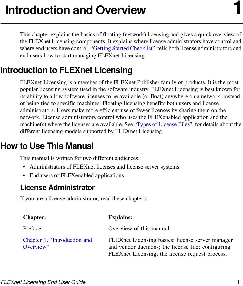 Getting Started Checklist tells both license administrators and end users how to start managing FLEXnet Licensing.