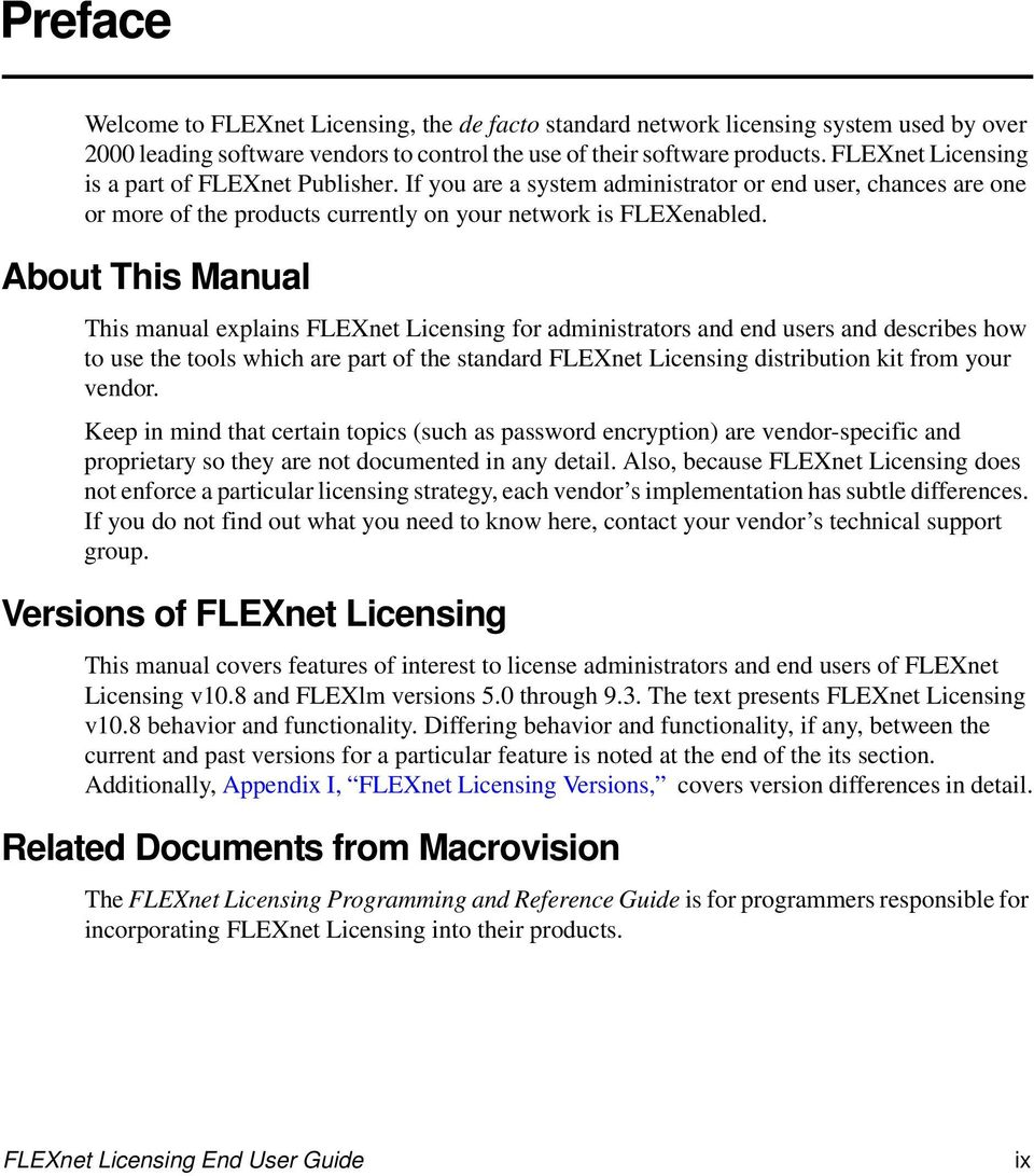 About This Manual This manual explains FLEXnet Licensing for administrators and end users and describes how to use the tools which are part of the standard FLEXnet Licensing distribution kit from