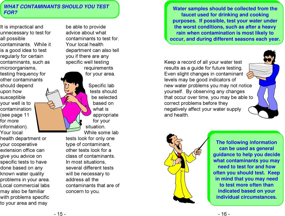 While it Your local health is a good idea to test department can also tell regularly for certain you if there are any contaminants, such as specific well testing Keep a record of all your water test
