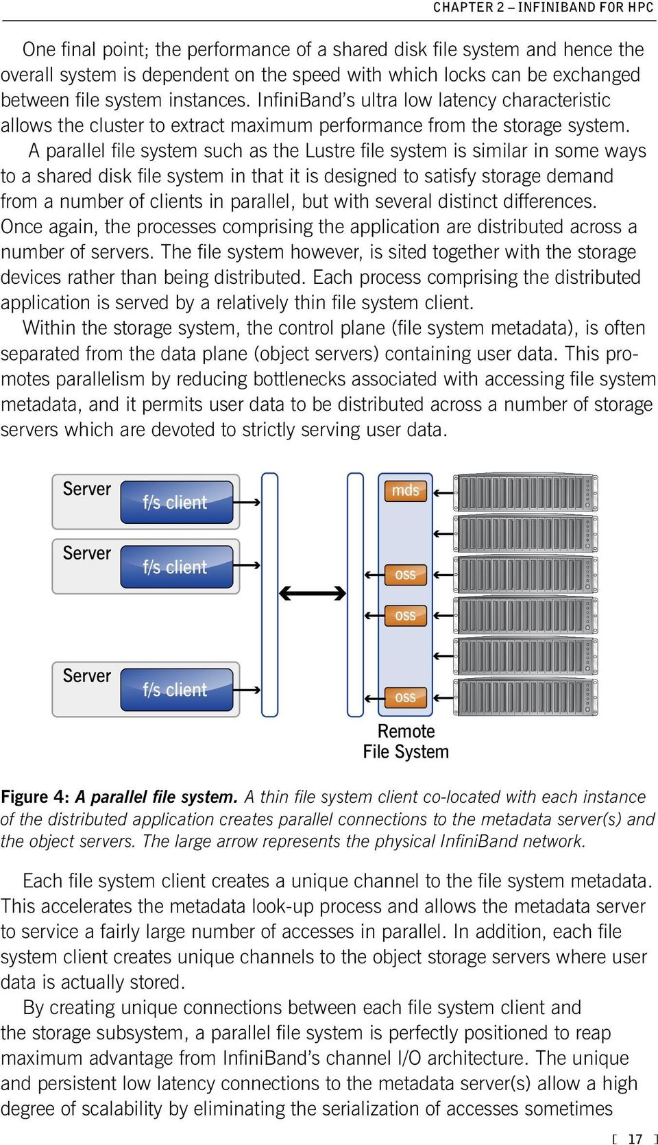 A parallel file system such as the Lustre file system is similar in some ways to a shared disk file system in that it is designed to satisfy storage demand from a number of clients in parallel, but