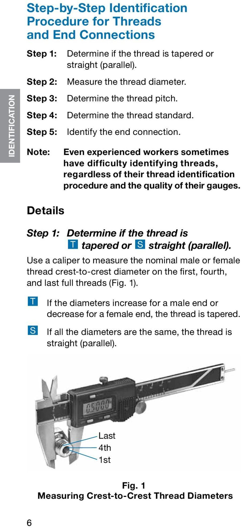 Even experienced workers sometimes have difficulty identifying threads, regardless of their thread identification procedure and the quality of their gauges.