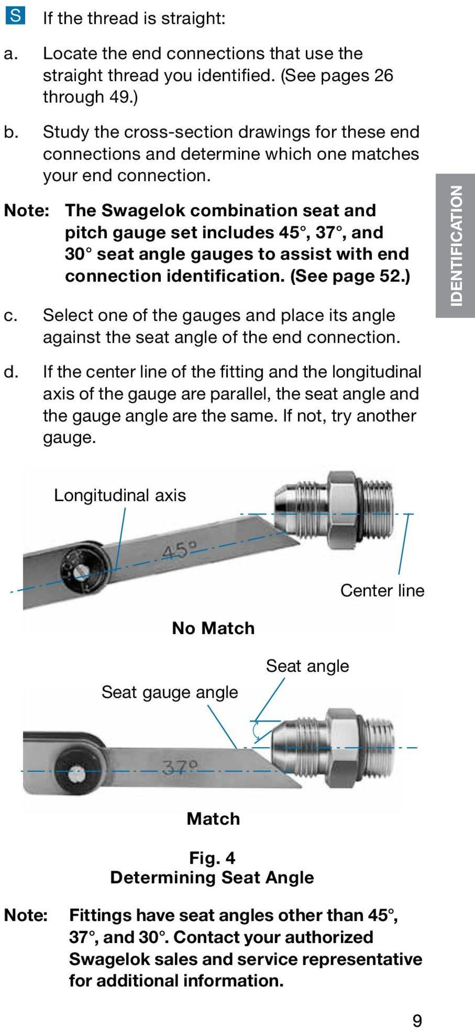 Note: The Swagelok combination seat and pitch gauge set includes 45, 37, and 30 seat angle gauges to assist with end connection identification. (See page 52.) c.