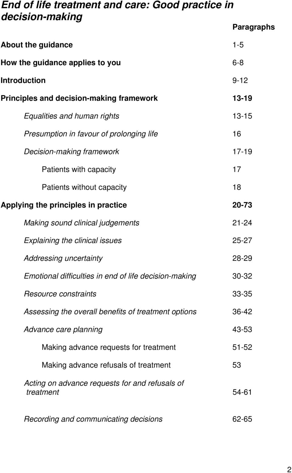 practice 20-73 Making sound clinical judgements 21-24 Explaining the clinical issues 25-27 Addressing uncertainty 28-29 Emotional difficulties in end of life decision-making 30-32 Resource