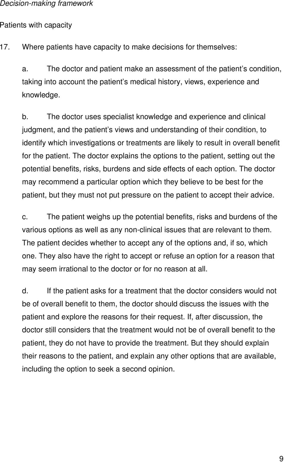 The doctor uses specialist knowledge and experience and clinical judgment, and the patient s views and understanding of their condition, to identify which investigations or treatments are likely to