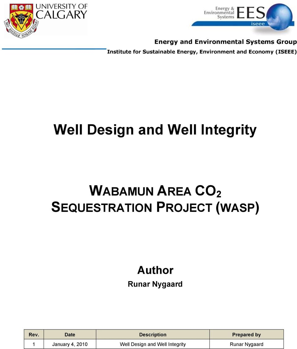 AREA CO 2 SEQUESTRATION PROJECT (WASP) Author Runar Nygaard