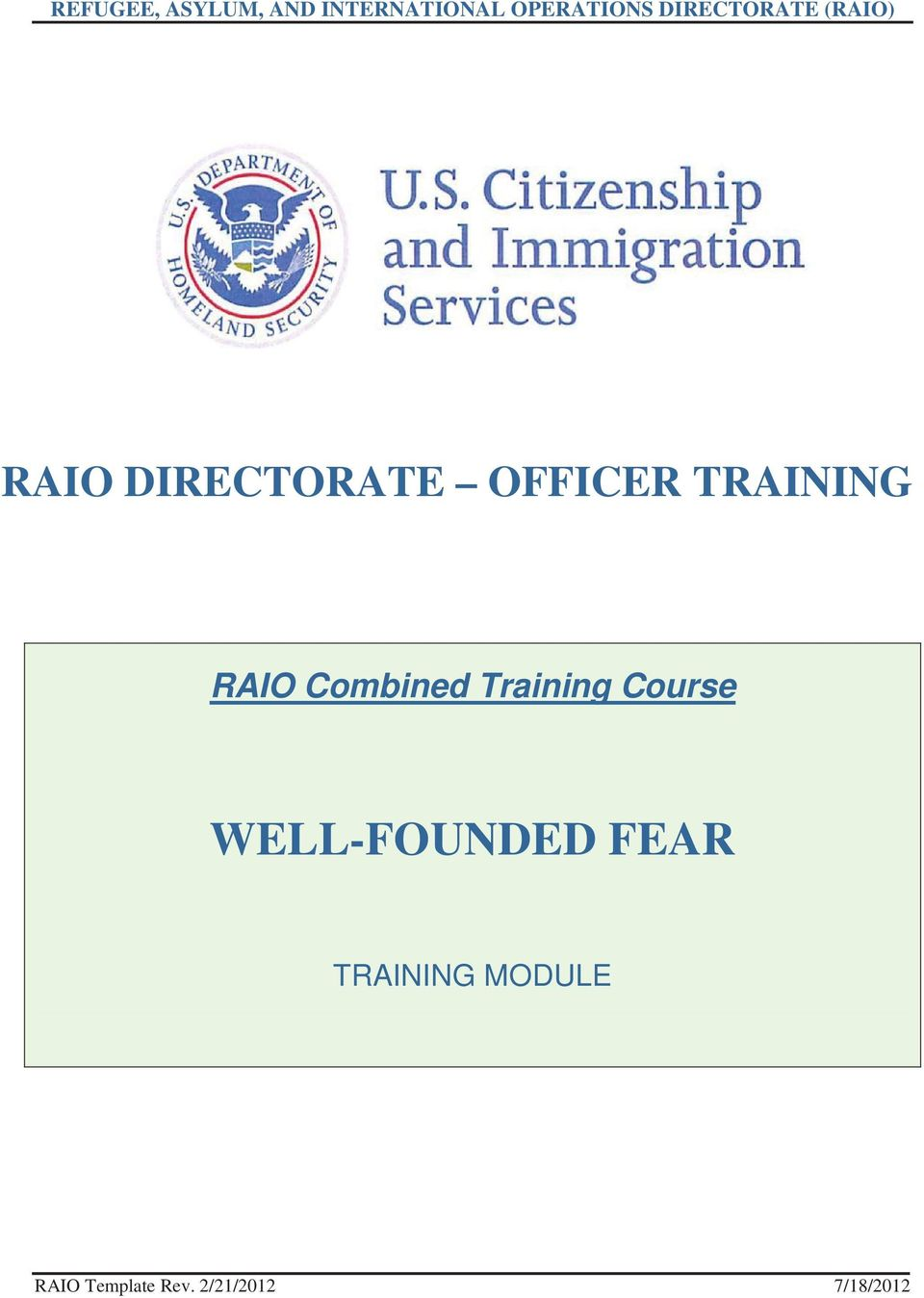 TRAINING RAIO Combined Training Course