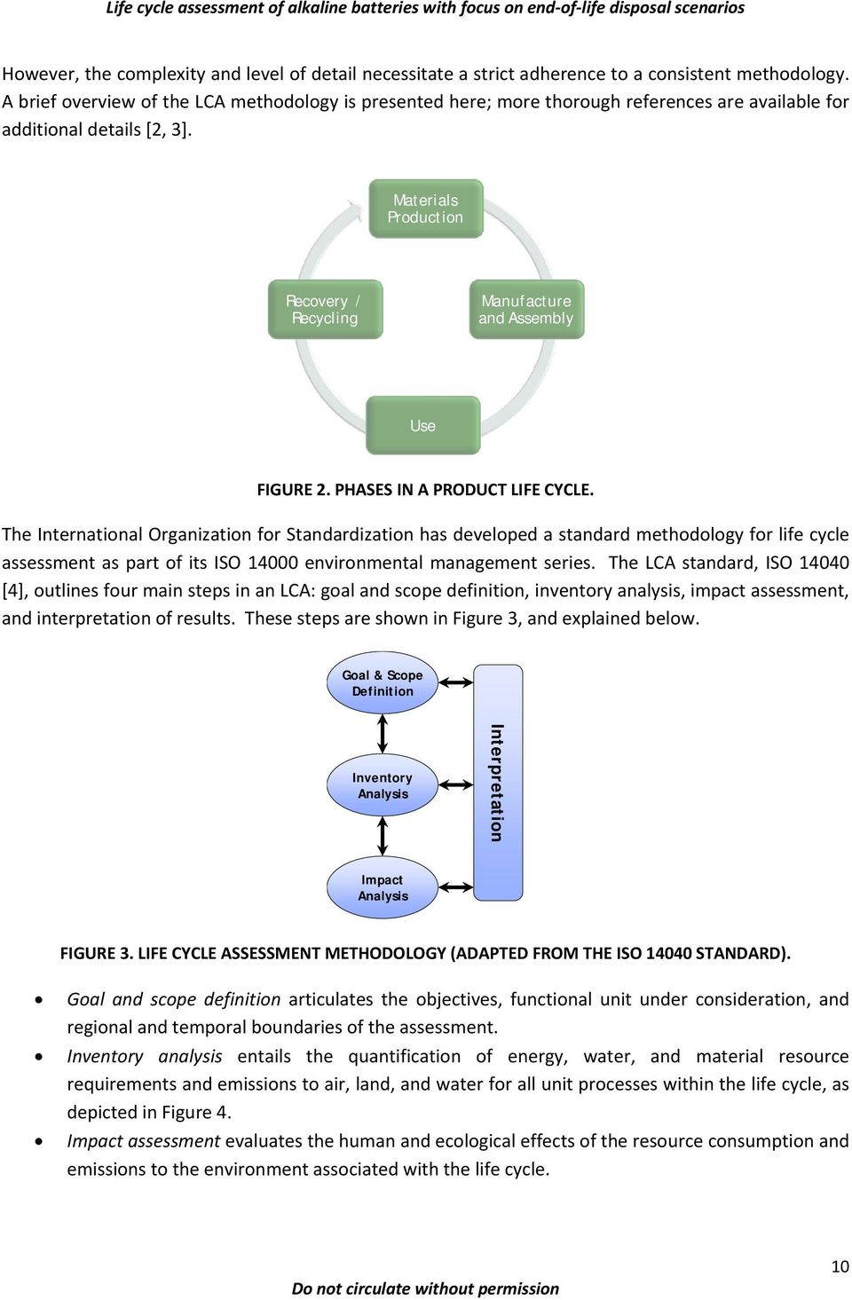 Materials Production Recovery / Recycling Manufacture and Assembly Use FIGURE 2. PHASES IN A PRODUCT LIFE CYCLE.