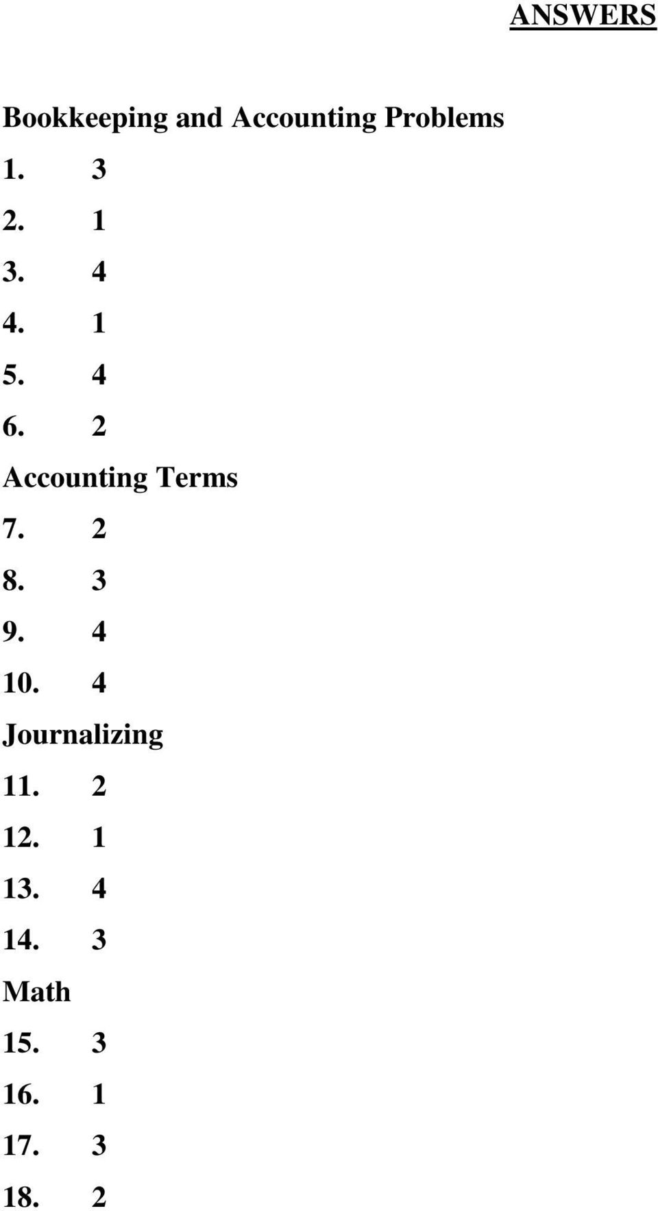 2 Accounting Terms 7. 2 8. 3 9. 4 10.