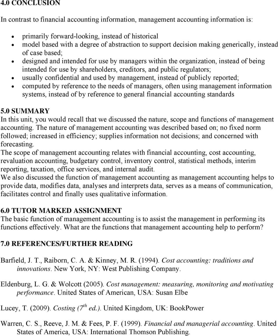 assignment management accounting oum Management accounting assignment sample posted by charles beckman on december 18 2016 management accounting is a new integrated part of the economic knowledge where the main goal is the informative and analytical support of the managers of the economic organizations to make the effective management decisions on the rational use of all .