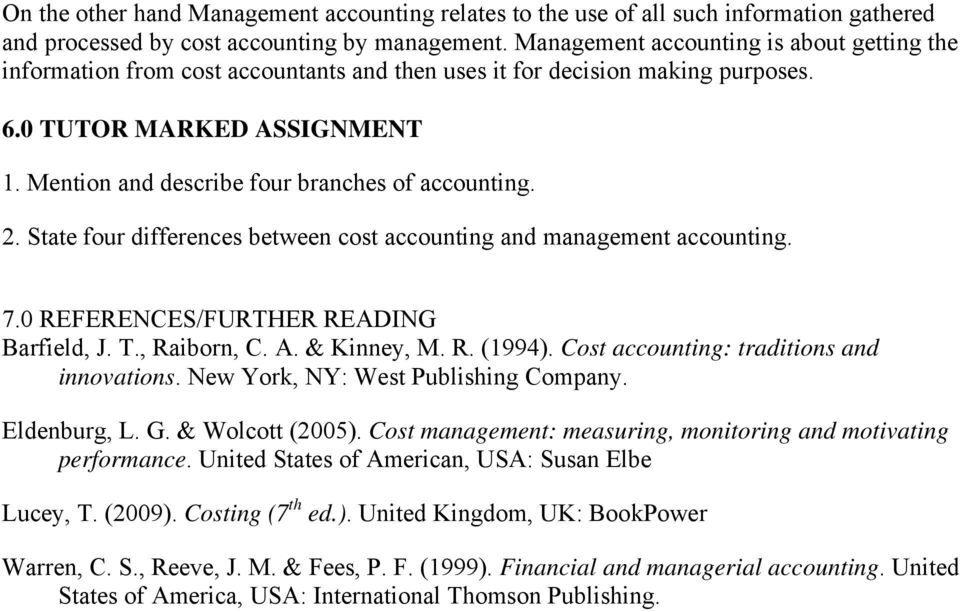 distinguish between cost accounting and management accounting pdf