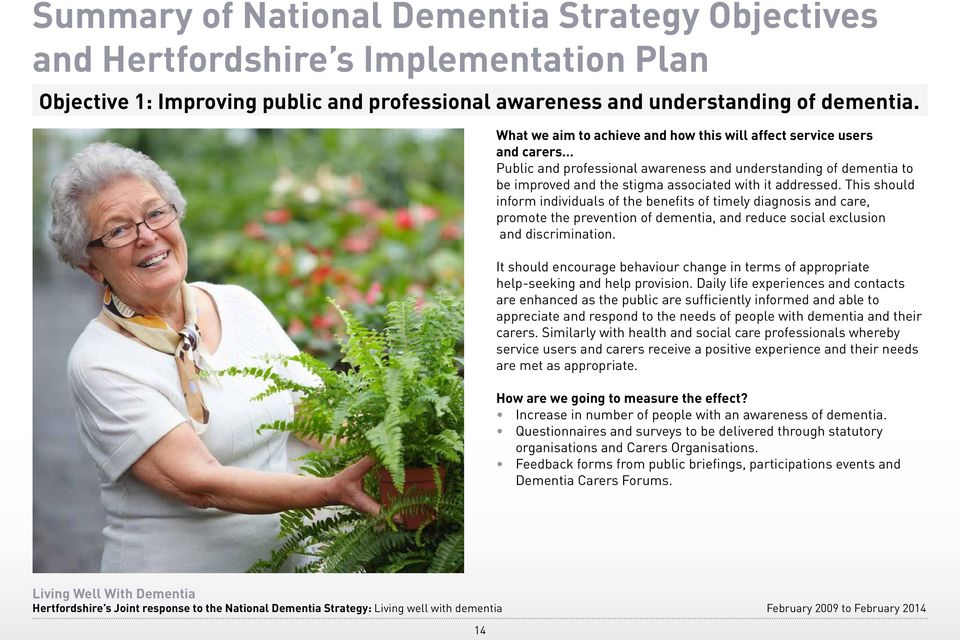 This should inform individuals of the benefits of timely diagnosis and care, promote the prevention of dementia, and reduce social exclusion and discrimination.