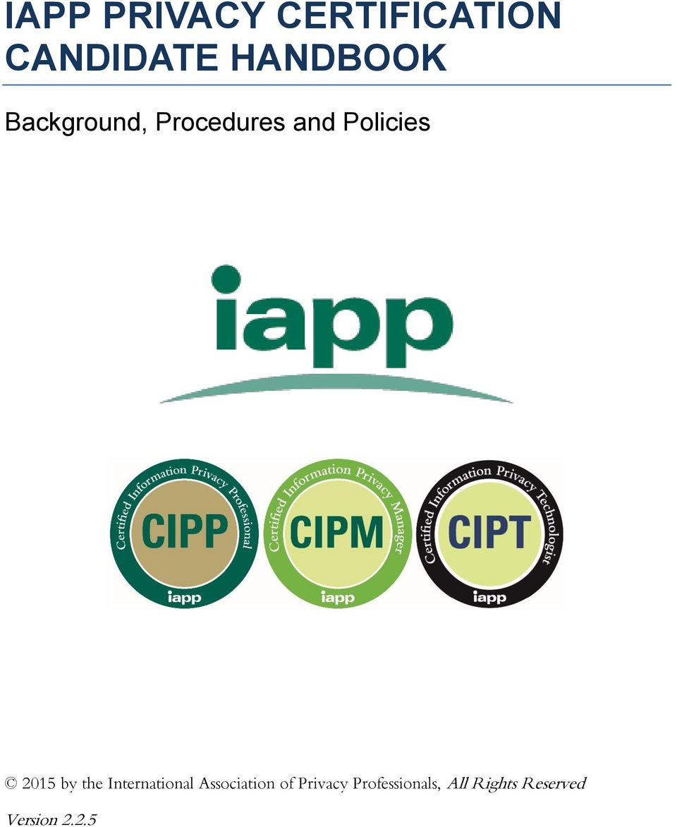 Iapp privacy certification candidate handbook pdf policies by the international association fandeluxe Choice Image