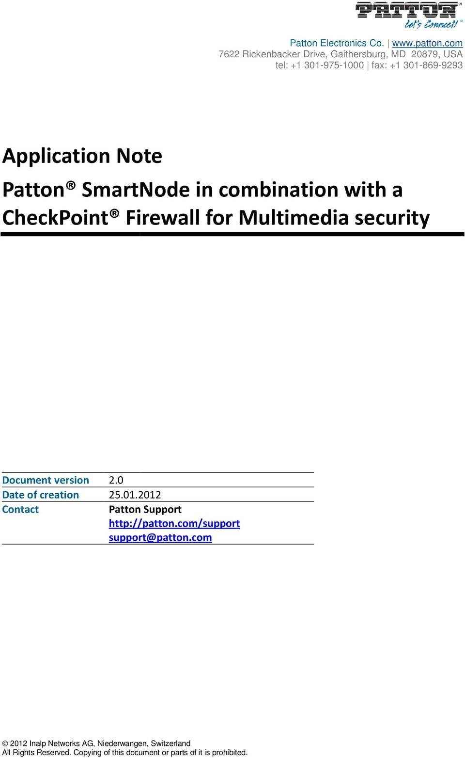 Patton SmartNode in combination with a CheckPoint Firewall for Multimedia security Document version 2.