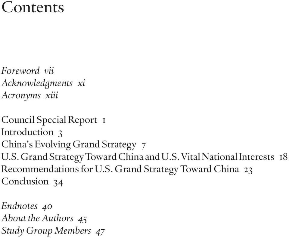 S. Vital National Interests 18 Recommendations for U.S. Grand Strategy Toward