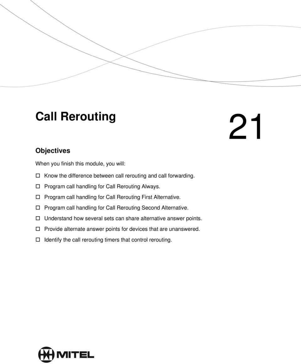 Program call handling for Call Rerouting Second Alternative.