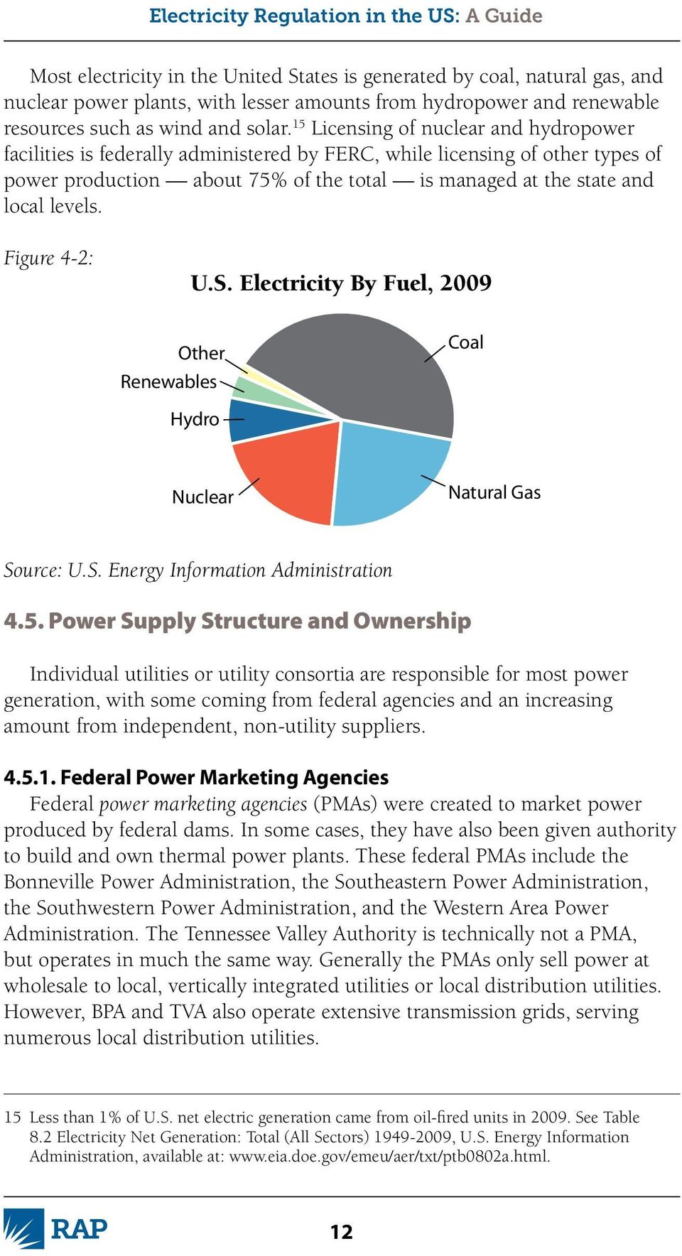 Figure 4-2: U.S. Electricity By Fuel, 2009 Other Renewables Coal Hydro Nuclear Natural Gas Source: U.S. Energy Information Administration 4.5.