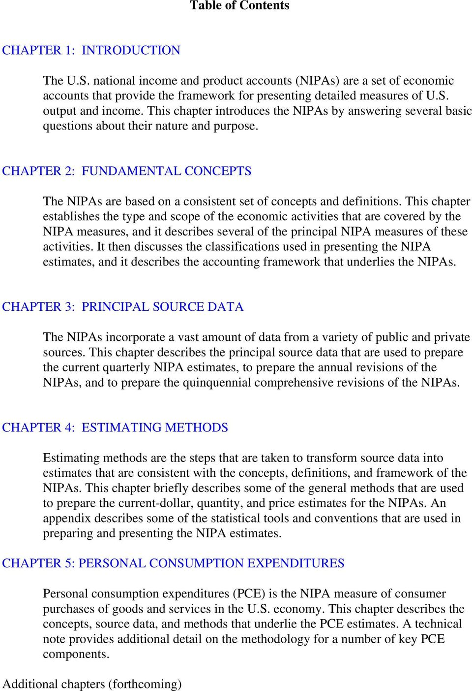 CHAPTER 2: FUNDAMENTAL CONCEPTS The NIPAs are based on a consistent set of concepts and definitions.