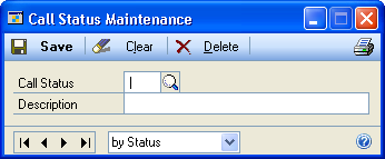 PART 1 SERVICE CALL MANAGEMENT SETUP 1. Open the Call Status Maintenance window. Cards > Service Call Management > Call Status 2. Enter a 3 character call status ID.