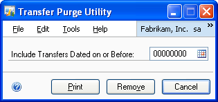 CHAPTER 7 RECONCILING PROCEDURES 1. Open the Service Call Purge Utility window. Microsoft Dynamics GP menu > Tools > Utilities > Project > Service Utilities > Purge Service Calls 2.