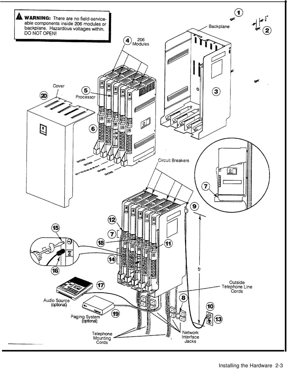 Att Partner Plus Communications System Installation And Phone Jack Wiring Diagram 17 Installing Telephones Other Equipment Caution Phones Must Be Connected With A 2 Pair Telephone Wire