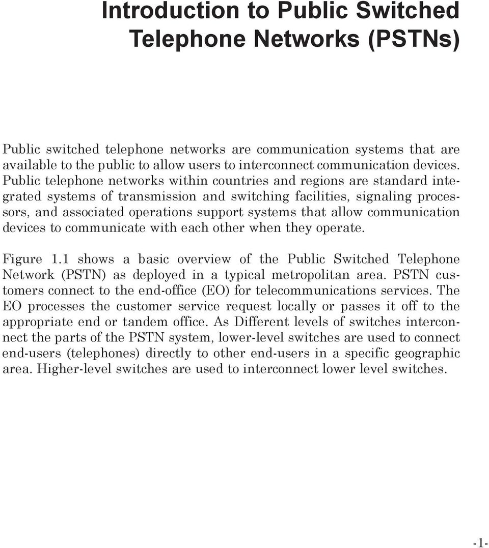 public switched telephone network pdf