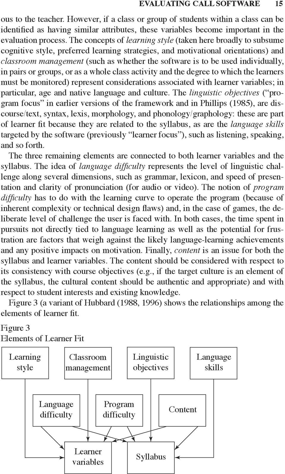 The concepts of learning style (taken here broadly to subsume cognitive style, preferred learning strategies, and motivational orientations) and classroom management (such as whether the software is