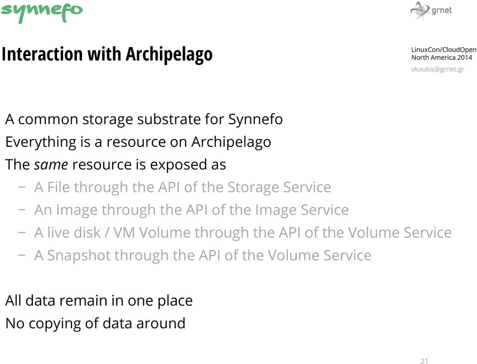through the API of the Image Service A live disk / VM Volume through the API of the Volume Service