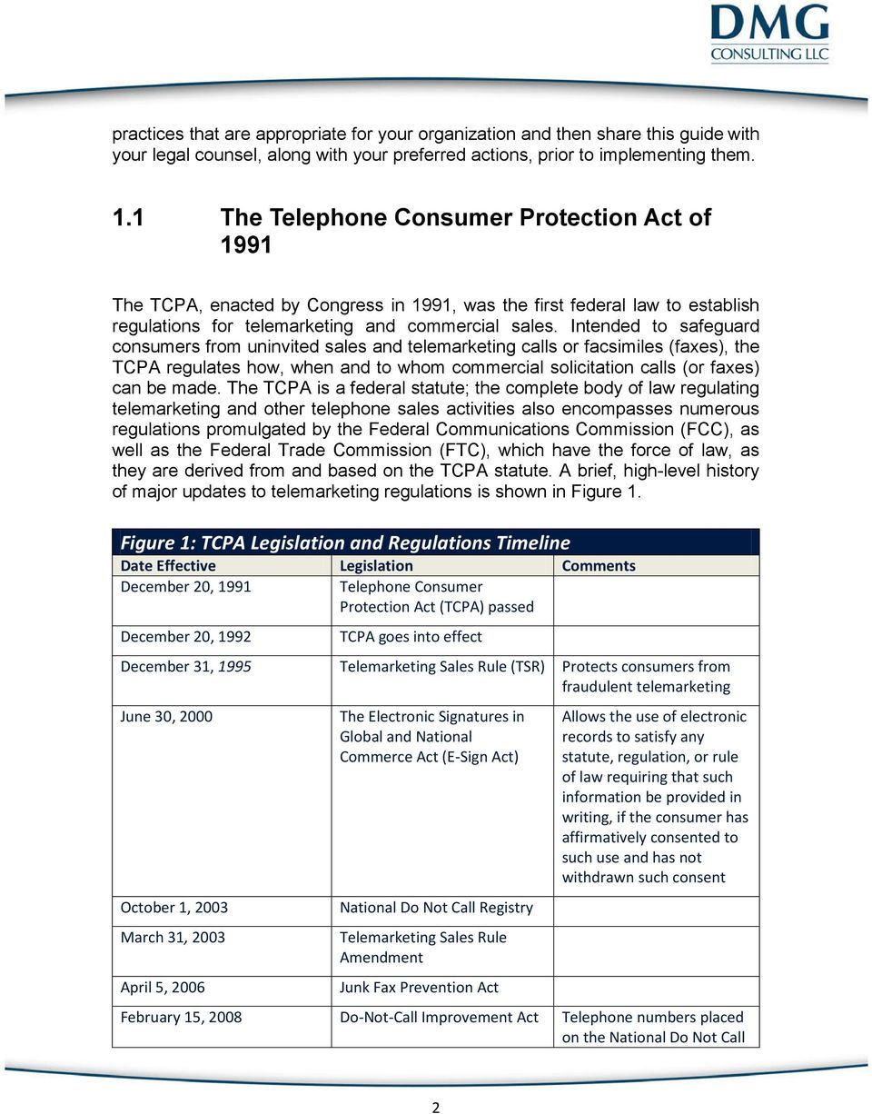 Intended To Safeguard Consumers From Uninvited Sales And Telemarketing Calls Or Facsimiles Faxes 6 Figure 1 TCPA