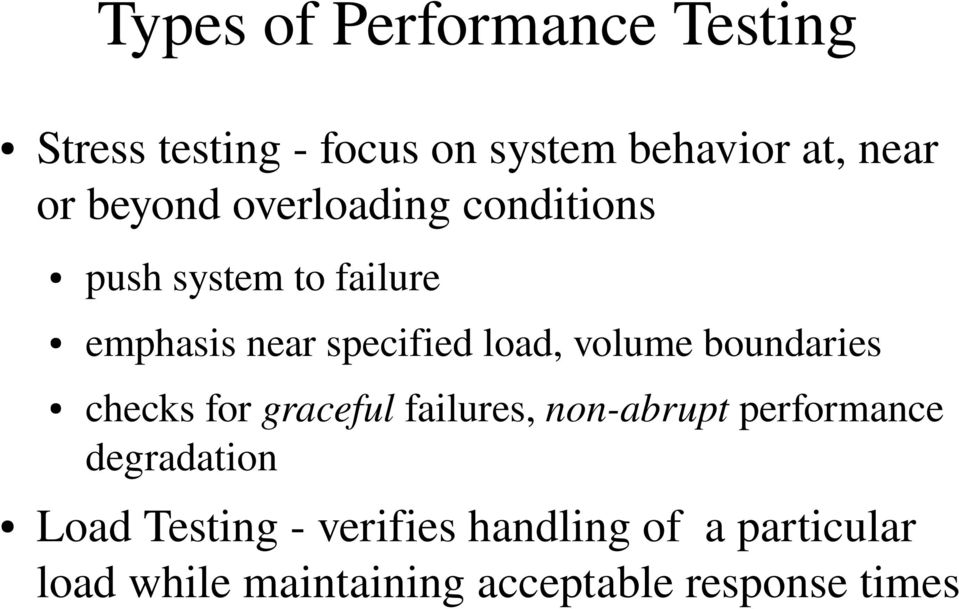 volume boundaries checks for graceful failures, non abrupt performance degradation
