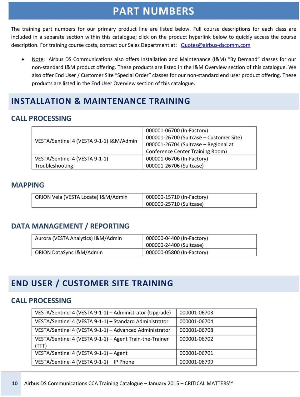 Fr training curse csts, cntact ur Sales Department at: Qutes@airbus-dscmm.